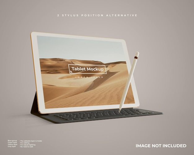Tablet mockup with stylus and keyboard looks left view