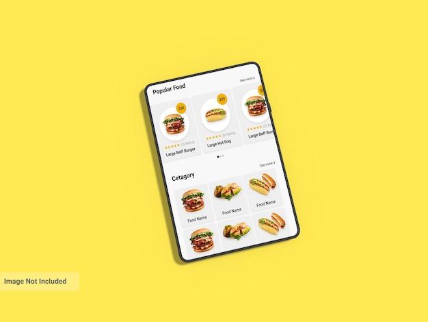 Макет планшета с желтым фоном
