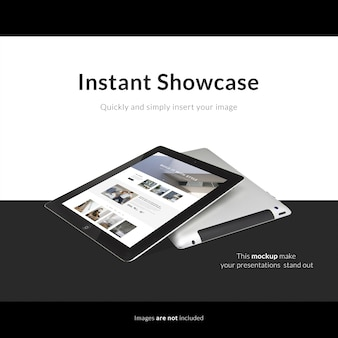 Tablet on black and white background mock up