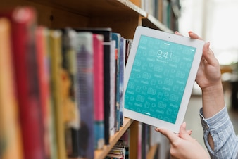 Tablet or ebook reader mockup with literature concept