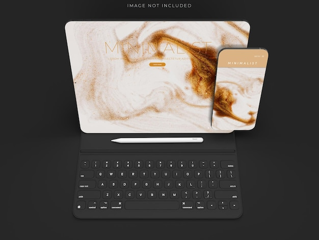 Tablet and phone mockup scene design