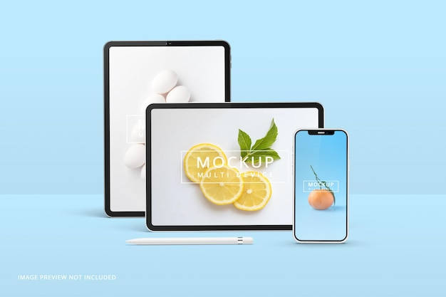 Tablet and phone screen mockup 3d rendering