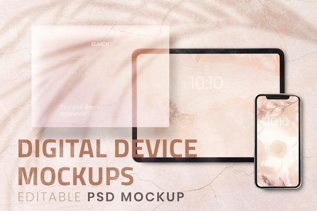 Tablet phone screen mockup psd digital device on aesthetic backg