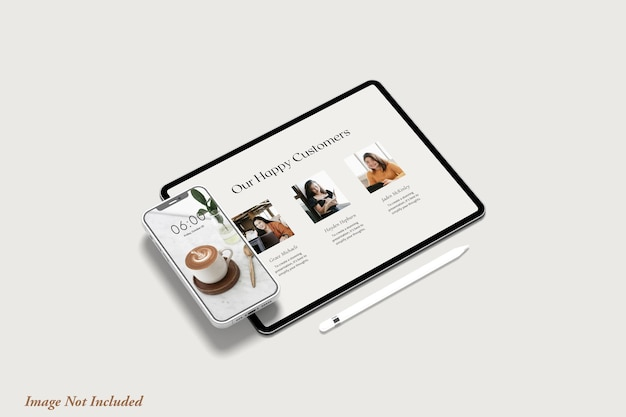 Tablet and phone screen mockup