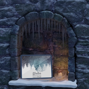 Tablet placed on fireplace mock-up