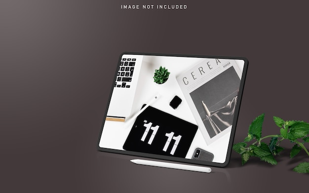 タブレットプロモックアップシーンクリエーター、葉とスタイラスペン