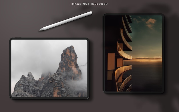 Tablet pro mockup scene creator with shadow overlay and stylus pen