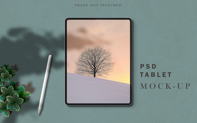 Tablet pro mockup scene creator with shadow overlay and stylus