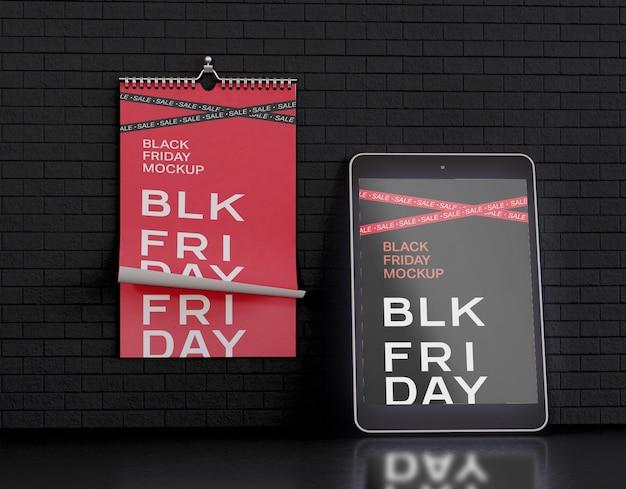 Tablet screen and calendar mockup Premium Psd