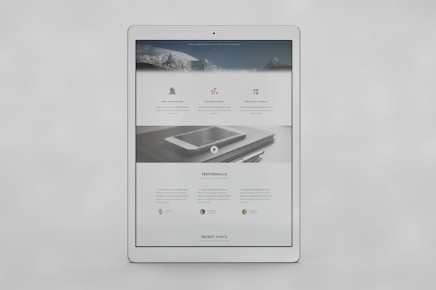 Tablet screen mock up