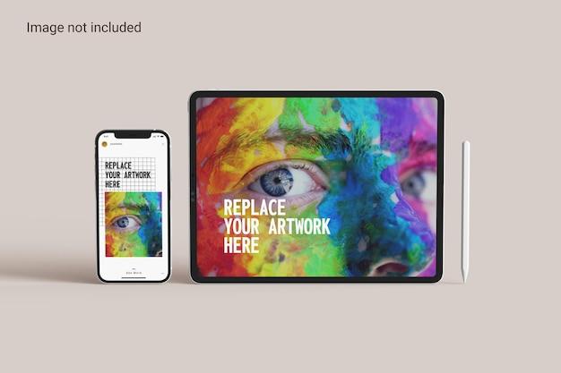 스마트폰 모형이 있는 태블릿 화면