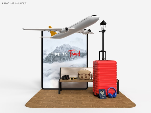Tablet and suitcase with traveler and airplane accessories mockup