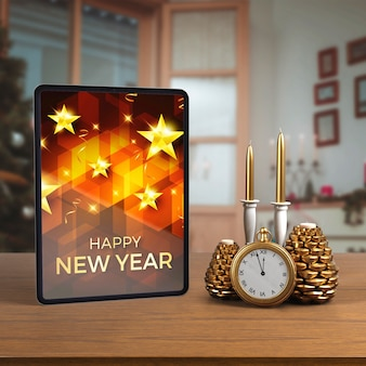 Tablet on table beside decorations
