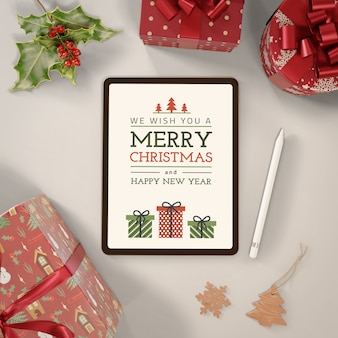 Tablet with merry christmas message