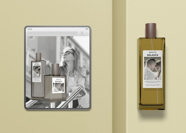 Tablet with perfume website mock-up