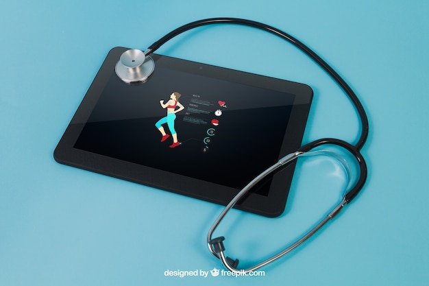 Tablet with sports app and stethoscope