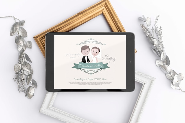 결혼식 이미지와 태블릿