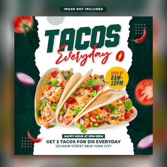 타코 음식 소셜 미디어 배너 게시물 템플릿