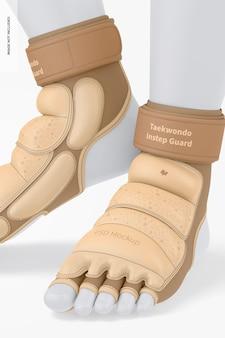 Mockup di protezioni per il collo del piede del taekwondo, vista laterale