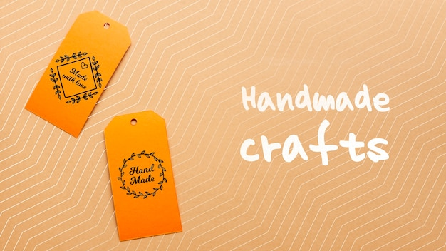 Tags with handmade crafts on cardboard