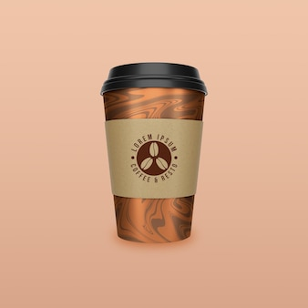 コーヒーと紅茶の紙コップのモックアップデザインを奪う