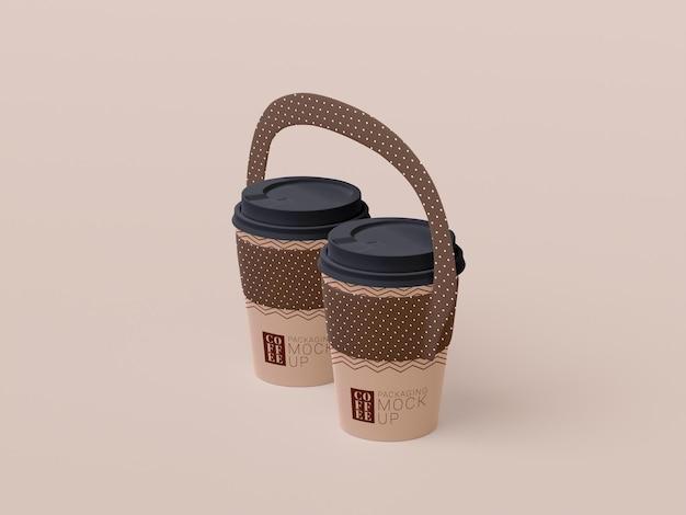 使い捨てのコーヒーカップのモックアップを奪う