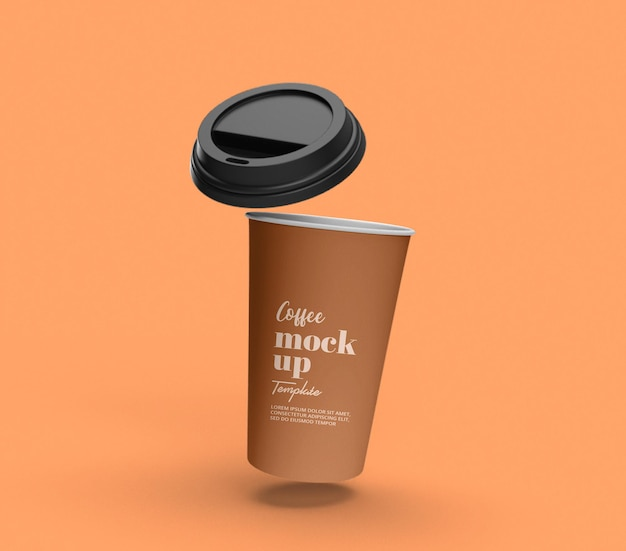 Take away flying paper coffee cup mockup