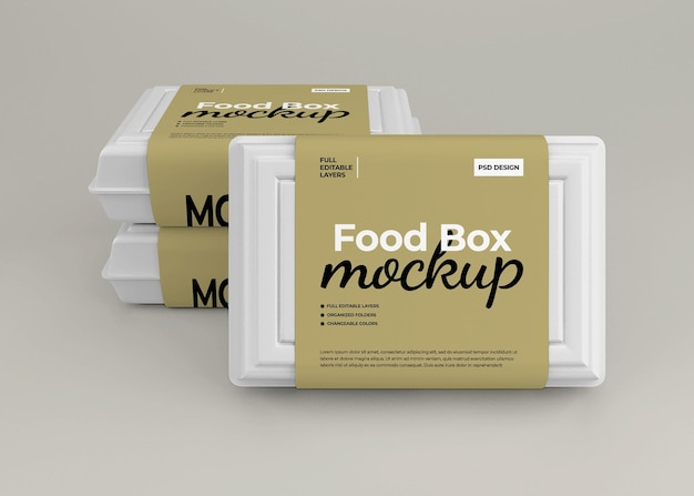 Take away food box mockup for fast food packaging
