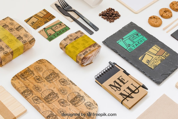Take away food mockup with various objects