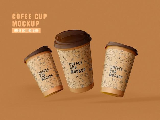 紙のコーヒーカップのモックアップpsdをテイクアウト