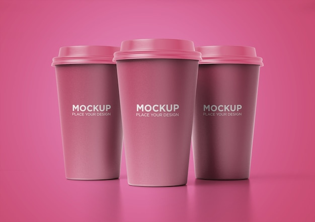 分離された紙のコーヒーカップのモックアップセットを奪う