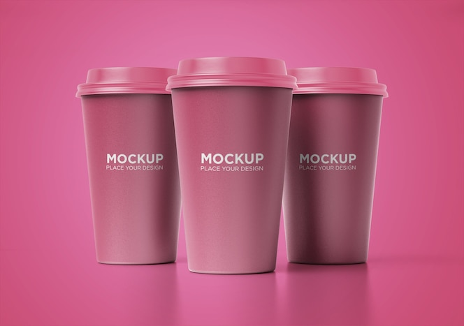 Take away paper coffee cup mockup set isolated