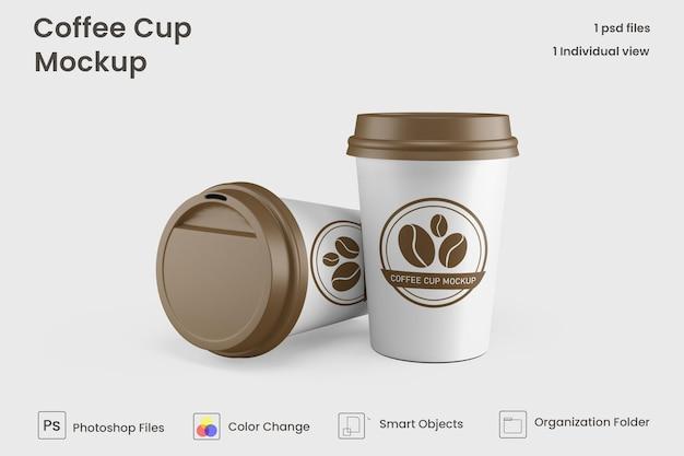 紙のコーヒーカップのモックアップを奪う