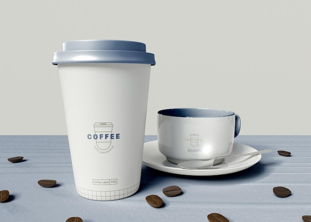 Take away paper coffee and mug mockup
