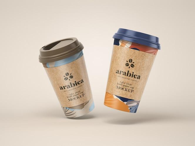 Take away бумажный кофейный кубок макет