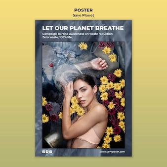 Prenditi cura del modello del poster della terra