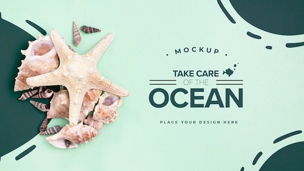 Prenditi cura dell'oceano con spazio di copia Psd Gratuite