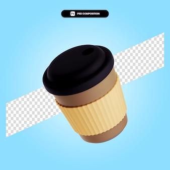 Чашка на вынос 3d визуализации изолированных иллюстрация