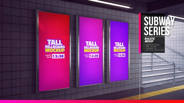 Tall billboards mockup in subway station