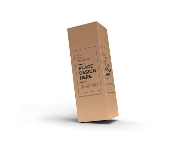 Изолированные макет упаковки высокая коробка