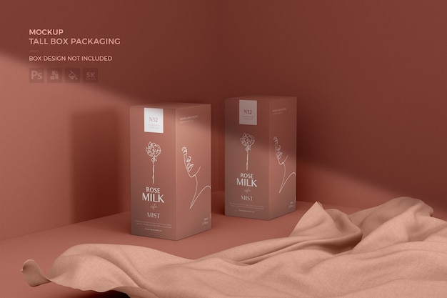 Tall box packaging mockup