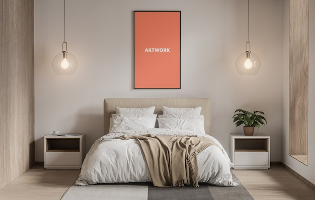 Tall poster in bedroom mockup