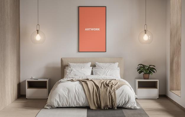 寝室のモックアップに背の高いポスター