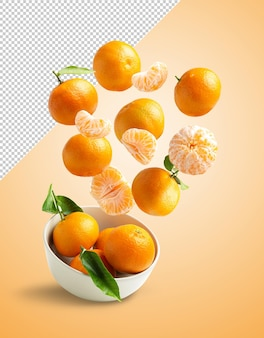 Tangerines flying in a bowl