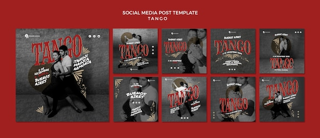 Tango dancers social media post template