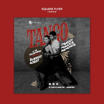 Tango dancers square flyer template