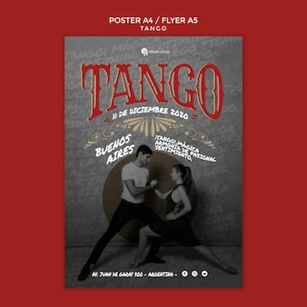 Tango poses flyer print template