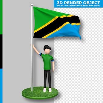 かわいい人々の漫画のキャラクターとタンザニアの旗。独立記念日。 3dレンダリング。
