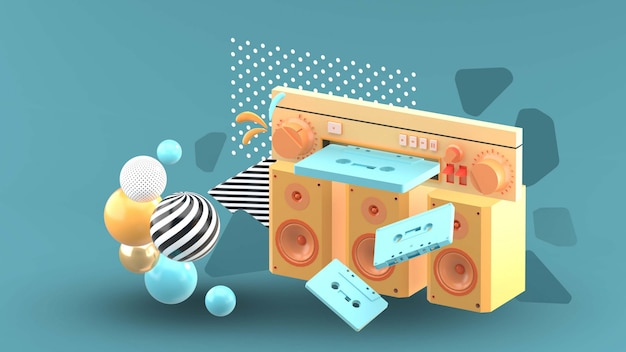 The tape player is surrounded by colorful tape and balls on blue