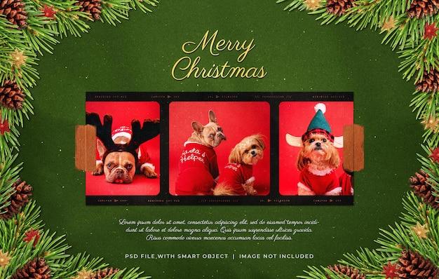 Наклеенная на пленку рождественская рамка для фотопленки moodboard mockup